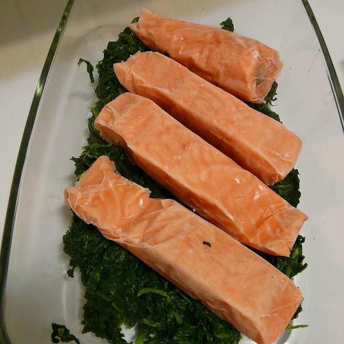 salmone spinaci